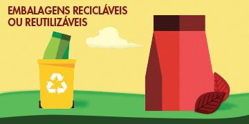 Embalagens recicláveis ou reutilizáveis